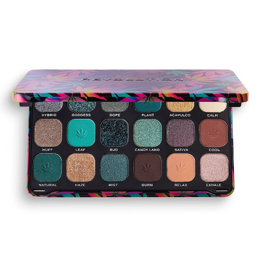 Makeup Revolution Good Vibes Forever Flawless Chilled Palette with cannabis sativa