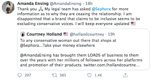 Sephora Cuts Ties with Amanda Ensing