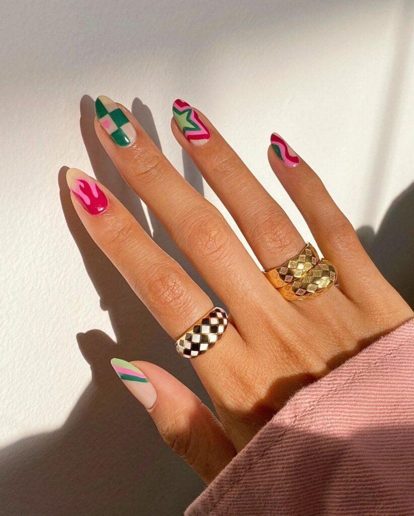 Green Checkered Nails