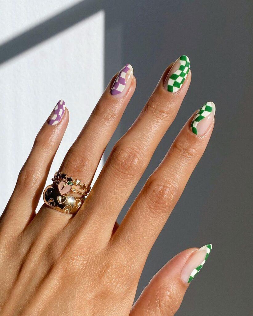 Purple Checkered Nails