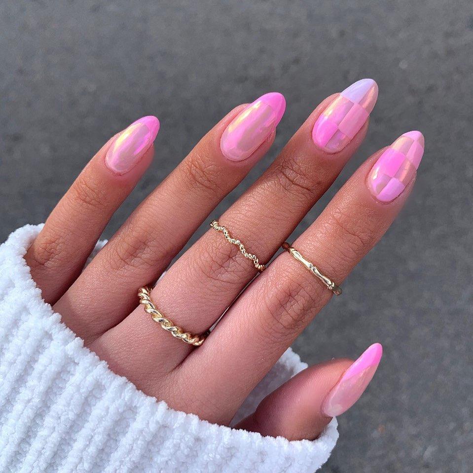 Pink Checkered Nails