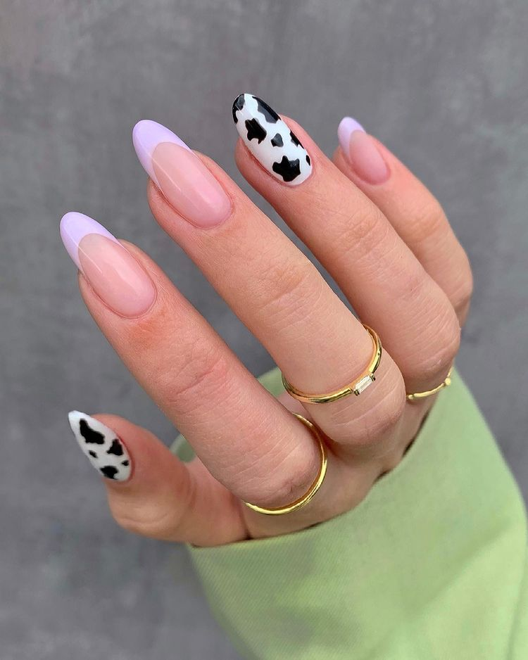 Purple and Cow Print Nails