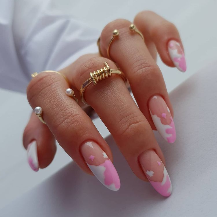 Light Pink Cow Print Nails