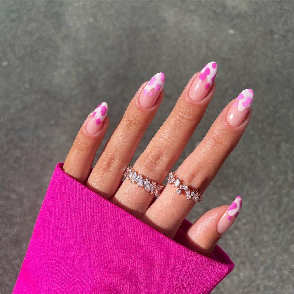 Hot Pink Cow Print Nails