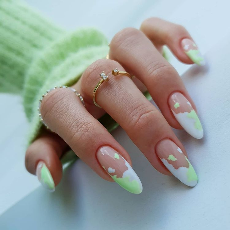 Green Cow Print Nails