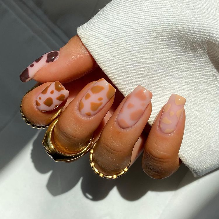 Nude Cow Print Nails