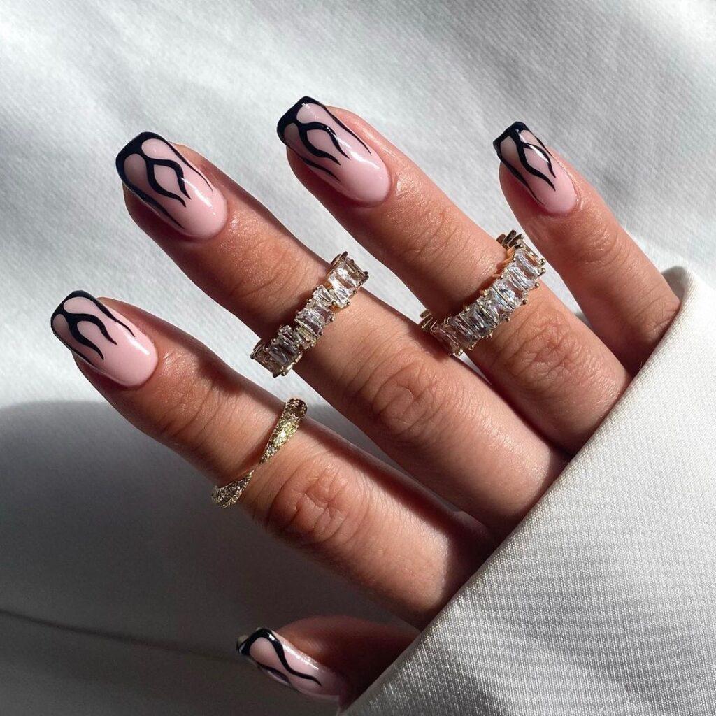 Black Flame Nails