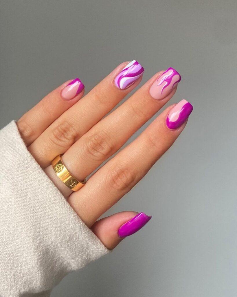 Purple Flame Nails