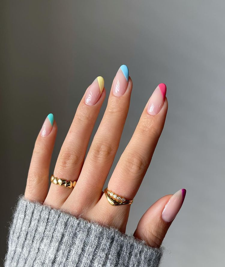 Rainbow French tip