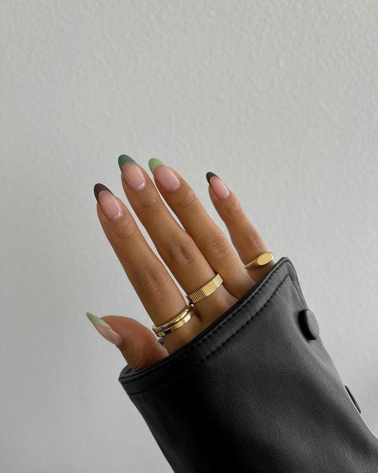 Brown and Sage Green Nails