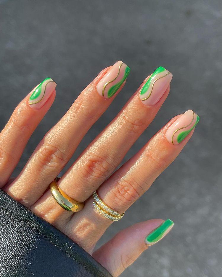 Green and Gold Nails