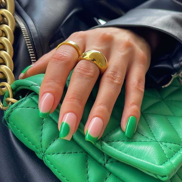 Nude and Green Nails